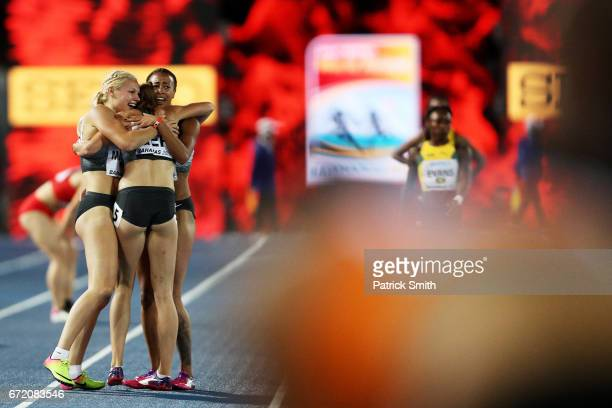 Team Germany celebrates after placing first in the Women's 4x100 Metres Relay Final during the IAAF/BTC World Relays Bahamas 2017 at Thomas Robinson...