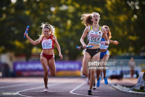Team Germany celebrates in the Women's 4 x 400m Relay Final during European Athletics U20 Championships Day 4 at Kadriorg Stadium on July 18, 2021 in...