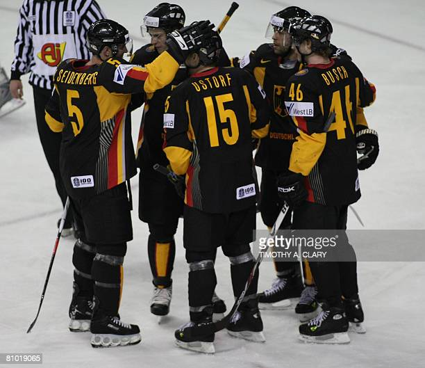 Team Germany celebrates Marco Sturm's goal against Norway during the preliminary round of the 2008 IIHF World Hockey Championships at the Halifax...