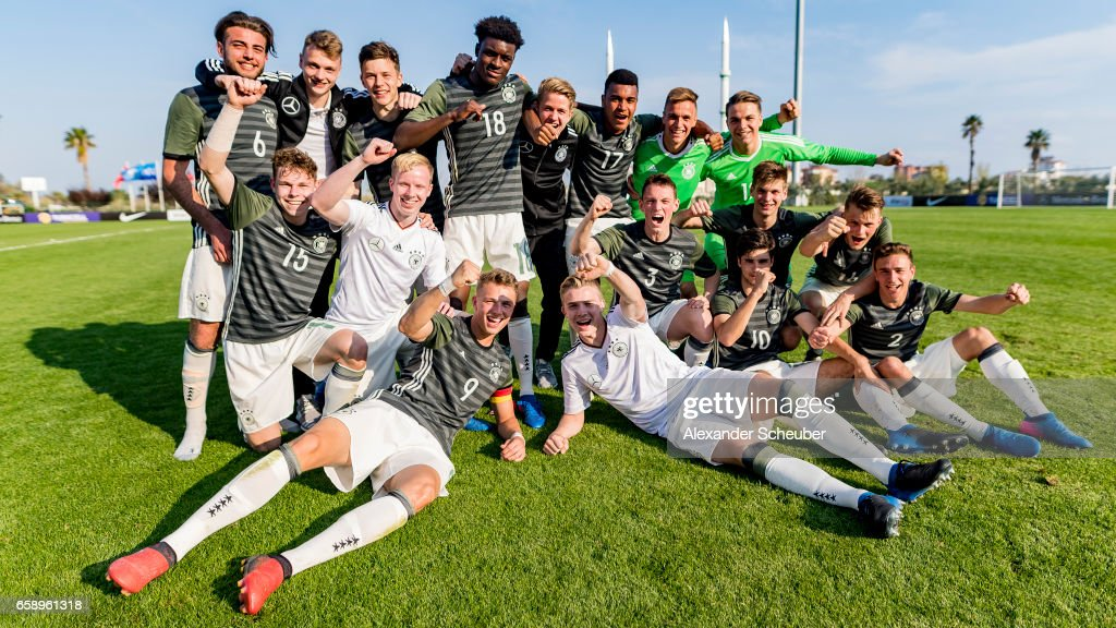Team Germany celebrates the victory against Turkey during the UEFA U17 elite round match between Germany and Turkey on March 28, 2017 in Manavgat, Turkey.