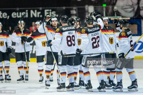 Team Germany celebrates the win in over time against team Switzerland on February 6, 2018 at Swiss Arena in Kloten, Switzerland.