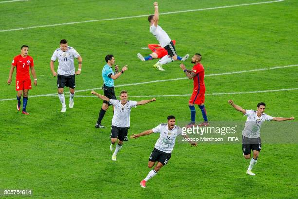 Team Germany celebrates winning the FIFA Confederations Cup Russia final match between Chile and Germany at Saint Petersburg Stadium on July 2 2017...