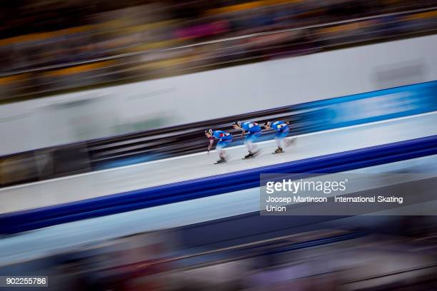 Team Germany compete in the Ladies Team Pursuit during day three of the European Speed Skating Championships at the Moscow Region Speed Skating...