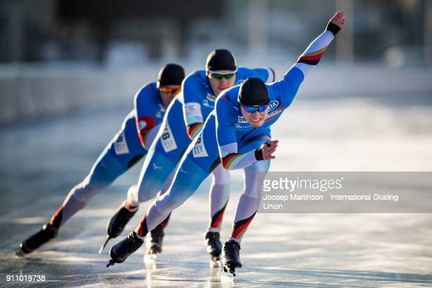 Team Germany compete in the Men's Team Sprint during the ISU Junior World Cup Speed Skating at Olympiaworld Ice Rink on January 27 2018 in Innsbruck...
