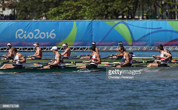 Team Germany competes in the Men's Eight Final A on Day 8 of the Rio 2016 Olympic Games at the Lagoa Stadium on August 13 2016 in Rio de Janeiro...