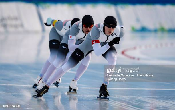 Team Germany competes in the NeoSenior Mens Team Pursuit sprint race during the ISU Junior World Cup Speed Skating Final day 1 on February 9 2019 in...