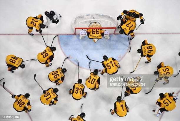 Team Germany gets ready for the men's gold medal ice hockey match between the Olympic Athletes from Russia and Germany during the Pyeongchang 2018...