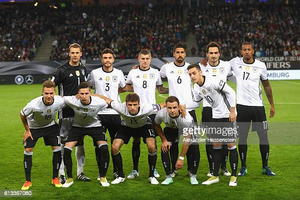 Team Germany linesup for the 2018 FIFA World Cup Qualifier match between Germany and Czech Republic at Volksparkstadion on October 8 2016 in Hamburg...