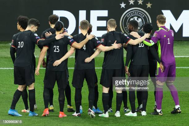 Team Germany lines-up for the FIFA World Cup 2022 Qatar qualifying match between Romania and Germany at Arena Nationala on March 28, 2021 in...