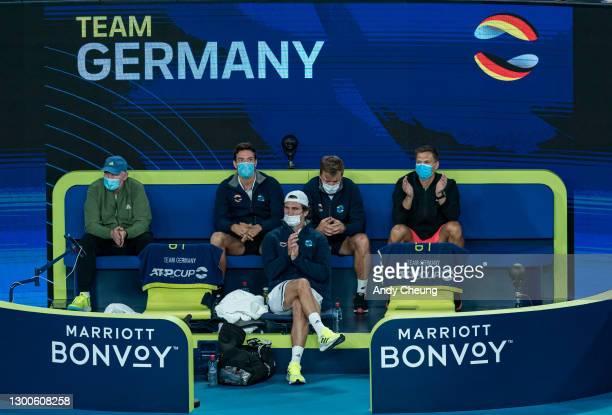 Team Germany members look on as AlexanderZverevof Germany takes on Daniil Medvedev of Russia during their semi-final singles match on day five of...