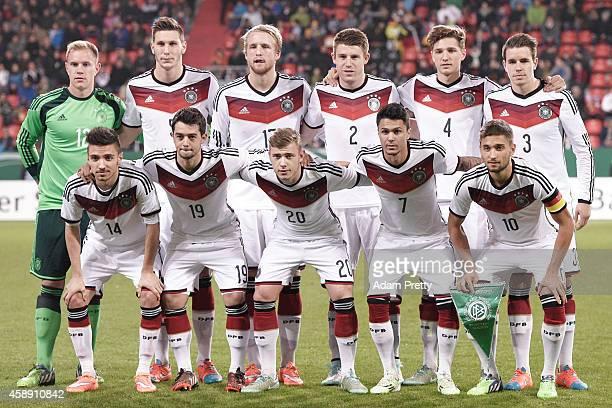 Team Germany pose for a picture before the U21 Germany v U21 Netherlands International Friendly match at Audi Sportpark on November 13, 2014 in...