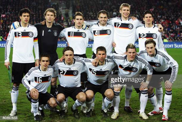 Team Germany pose prior to the international friendly match between Switzerland and Germany at the St JakobPark on March 26 2008 in Basel Switzerland