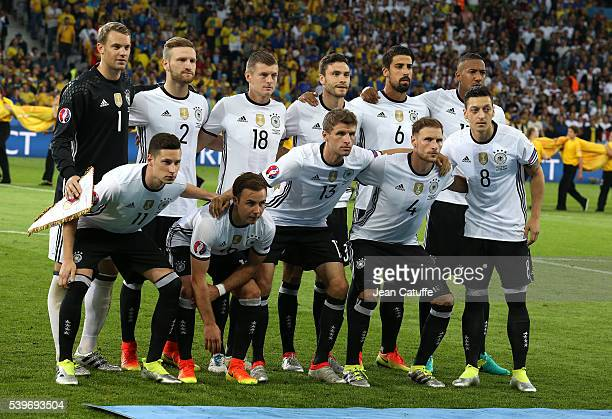 Team Germany poses before the UEFA Euro 2016 Group C match between Germany and Ukraine at Stade Pierre Mauroy on June 12 2016 in Lille France