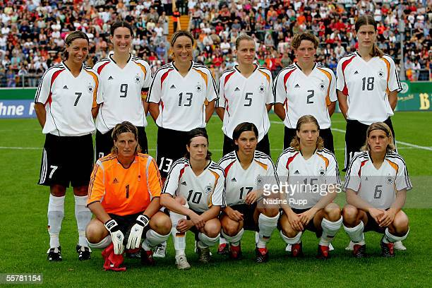 Team Germany poses before the women's World Cup qualifying match between Germany and Czech Russia at Leimbach stadium on September 25 2005 in Siegen...