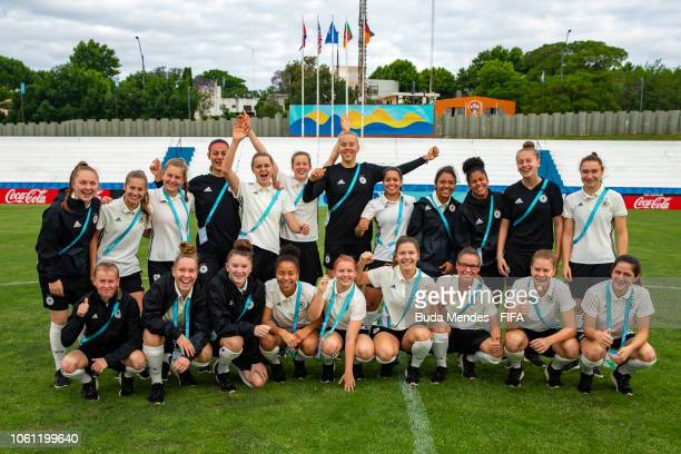 Team Germany poses for a photo ahead of the FIFA U17 Women's World Cup Uruguay 2018 at Profesor Alberto Suppici Stadium on November 13 2018 in...
