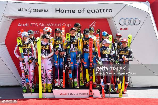 Team Germany takes 2nd place Team Sweden takes 1st place Team France takes 3rd place during the Audi FIS Alpine Ski World Cup Finals Nation Team...