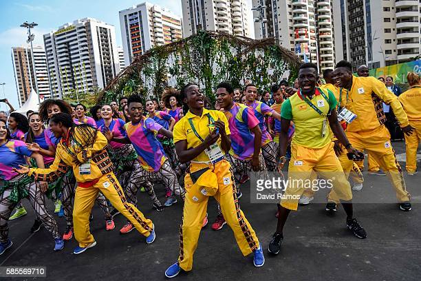 Team Ghana athletes for the Rio 2016 Olympic Games attend their welcome ceremony at the Athletes village on August 3, 2016 in Rio de Janeiro, Brazil.