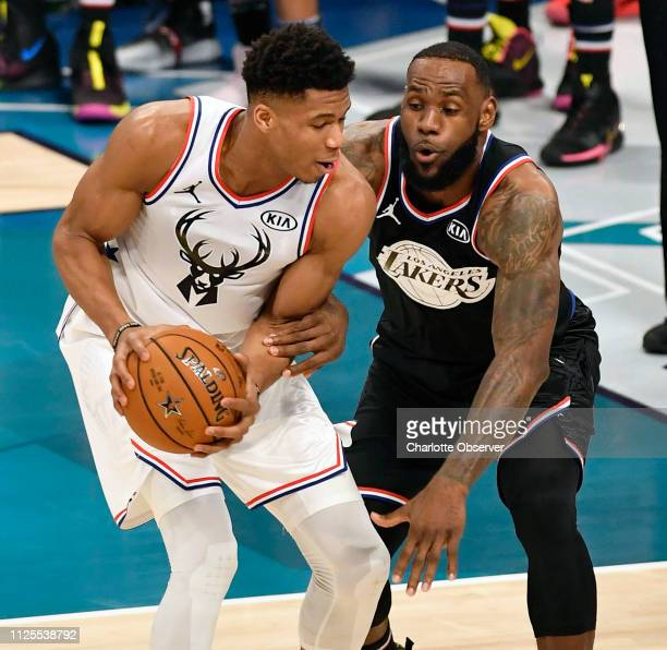 Team Giannis' Giannis Antetokounmpo of the Milwaukee Bucks challenges Team LeBron's LeBron James of the Los Angeles Lakers during the 2019 NBA...