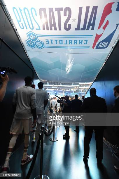 Team Giannis make their entrance before the game against Team LeBron during the 2019 NBA AllStar Game on February 17 2019 at Spectrum Center in...