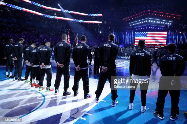 Team Giannis stands during pregame ceremonies before playing against Team LeBron during the NBA AllStar game as part of the 2019 NBA AllStar Weekend...
