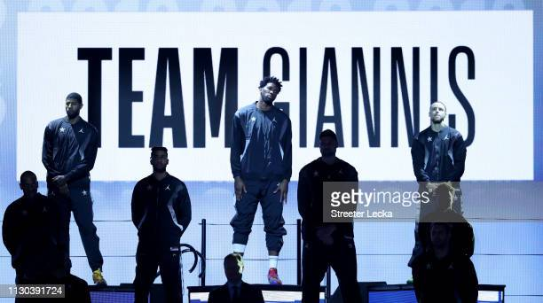 Team Giannis takes the stage before the NBA AllStar game as part of the 2019 NBA AllStar Weekend at Spectrum Center on February 17 2019 in Charlotte...