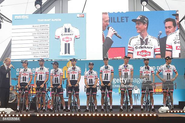Team GiantAlpecin is introduced during the team presentation ahead of the 2016 Le Tour de France on June 30 2016 in SainteMereEglise France