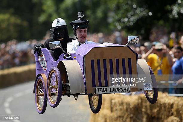 A team go over a jump during the Red Bull Soapbox Race at Alexandra Palace on July 14 2013 in London England The Red Bull Soapbox Race returned to...