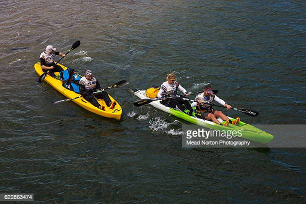 Team Godzone from New Zealand heading out on sea kayaks to paddle the Clide River before pulling out of the Adventure Race World Championship on...