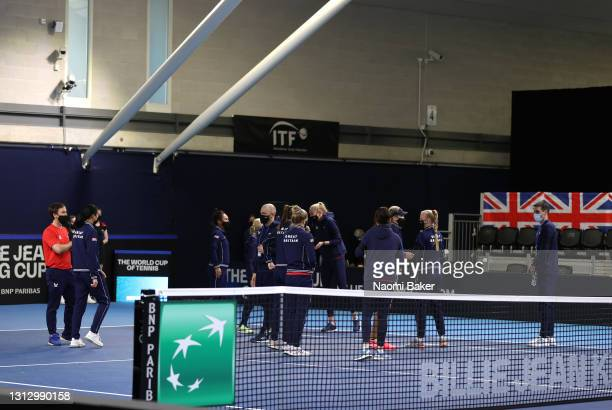 Team Great Britain celebrate the win during day two of the Billie Jean King Cup Play-Offs between Great Britain and Mexico at National Tennis Centre...
