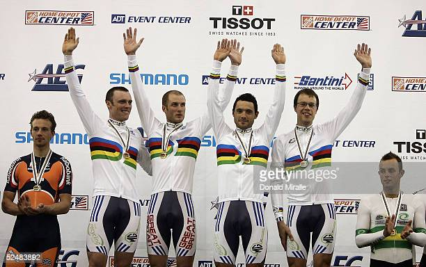 Team Great Britain celebrates her victory in the Men's Team Pursuit during day three of the 2005 UCI Track Cycling World Championships on March 26...