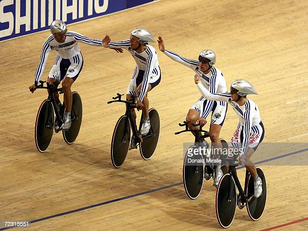 Team Great Britain celebrates their victory in the Men's Team Pursuit during day three of the 2005 UCI Track Cycling World Championships on March 26...