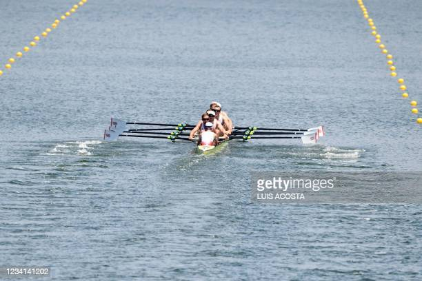 Team Great Britain competes in the men's eight heats during the Tokyo 2020 Olympic Games at the Sea Forest Waterway in Tokyo on July 24, 2021.