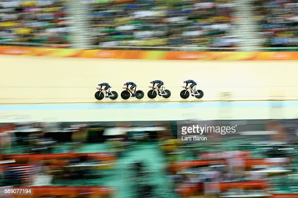 Team Great Britain competes in the Women's Team Pursuit First Round on Day 8 of the Rio 2016 Olympic Games at the Rio Olympic Velodrome on August 13...