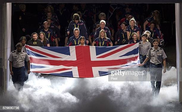 Team Great Britain during the Opening Ceremony of the Invictus Games Orlando 2016 at ESPN Wide World of Sports on May 8 2016 in Orlando Florida...