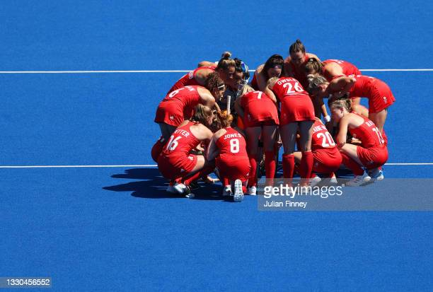 Team Great Britain huddle up prior to the Women's Pool A match against Team Germany on day two of the Tokyo 2020 Olympic Games at Oi Hockey Stadium...