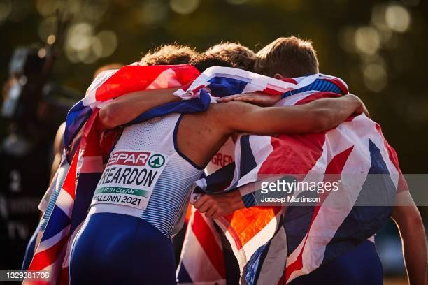 Team Great Britain & Northern Ireland celebrate in the Men's 4 x 400m Relay Final during European Athletics U20 Championships Day 4 at Kadriorg...