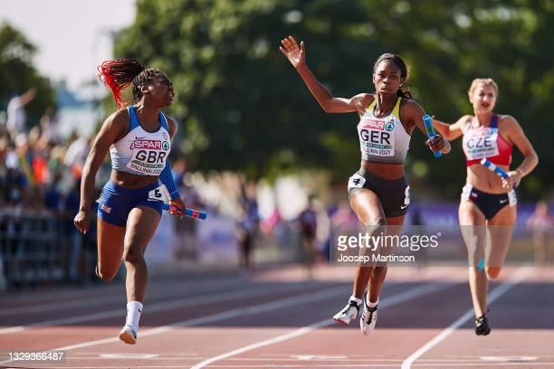 Team Great Britain & Northern Ireland celebrate in the Women's 4 x 100m Relay Final during European Athletics U20 Championships Day 4 at Kadriorg...