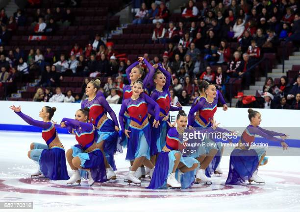 Team Great Britain perform in the Free Program during the ISU World Junior Synchronized Skating Championships at Hershey Centre on March 11, 2017 in...