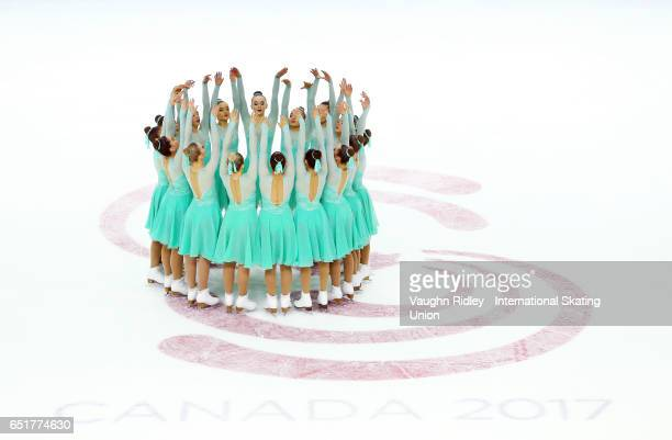 Team Great Britain perform in the Short Program during the ISU World Junior Synchronized Skating Championships at Hershey Centre on March 10, 2017 in...