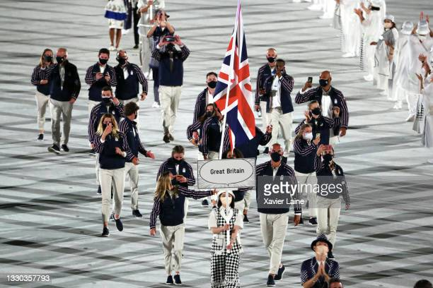 Team Great Britain walk in the parade during the Opening Ceremony of the Tokyo 2020 Olympic Games at Olympic Stadium on July 23, 2021 in Tokyo, Japan.