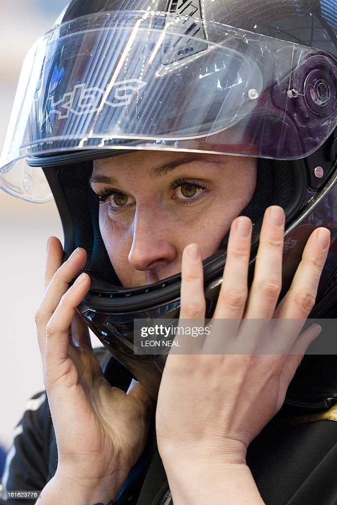 Team Great Britain's Paula Walker prepares to take part in a training run for the Bobsleigh Women category of the FIBT Bob and Skeleton World Cup 2012/23 at the Sanki sliding centre, near Rzhanaya ...