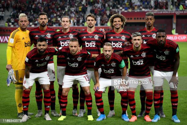 Team Group of CR Flamengo pose prior the SemiFinals Match CR Flamengo and Al Hilal SFC at Khalifa International Stadium on December 17 2019 in Doha...