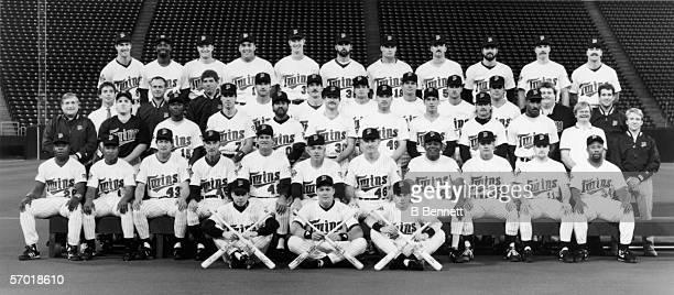 Team group portrait of the World Champion Minnesota Twins baseball team 1991 Back row Gene Larkin Chili Davis Mark Guthrie Kent Hrbek David West Rick...