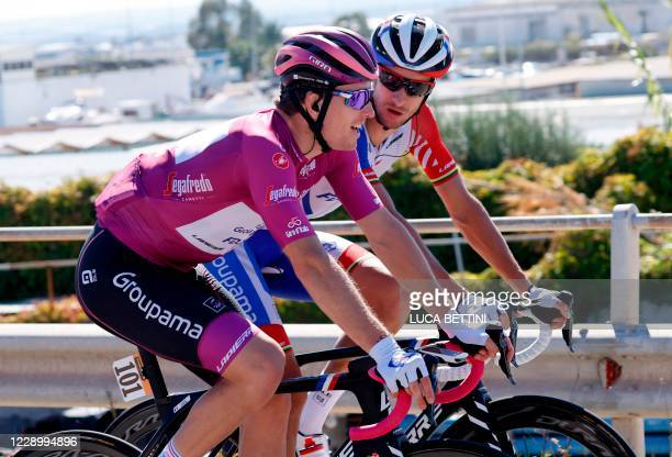 Team Groupama - FDJ rider Franch's Arnaud Demare wearing the point leader's jersey, maglia ciclamino competes in the 8th stage of the Giro d'Italia...