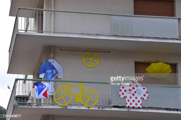 Team GroupamaFDJ Fans / Public / SaintJulienMontDenis Village / Polka Dot Mountain Jersey / Bike / Detail view / during the 106th Tour de France 2019...