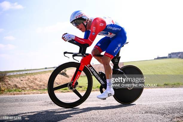 Team Groupama-FDJ rider Australia's Miles Scotson competes during the 3rd stage of the 79th Paris - Nice cycling race, a 14.4-km individual...