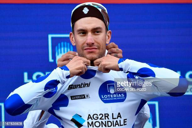 Team Groupama-FDJ rider France's Bruno Armirail celebrates celebrates wearing the climber´s jerdey on the podium the 19th stage of the 2019 La Vuelta...