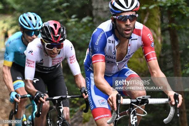 Team GroupamaFDJ rider France's Thibaut Pinot and Team Ineos rider Colombia's Egan Bernal ride during the second stage of the 72nd edition of the...