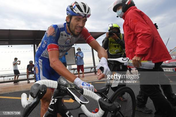 Team Groupama-FDJ rider France's Thibaut Pinot stands up after falling down during the 1st stage of the 107th edition of the Tour de France cycling...