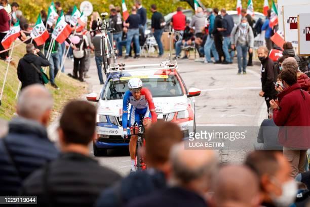 Team Groupama-FDJ rider Lithuania's Ignatas Konovalovas rides during the fourteenth stage of the Giro d'Italia 2020 cycling race, a 34,1-kilometer...